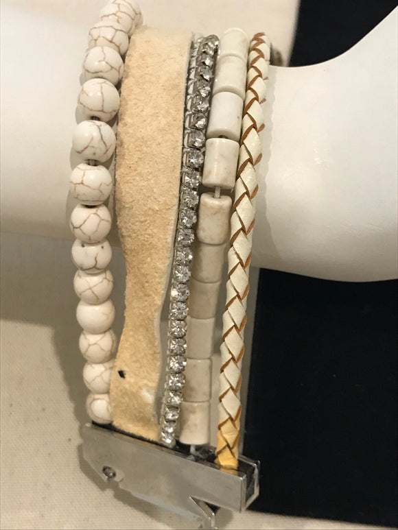 Cream bead and leather wrist strap