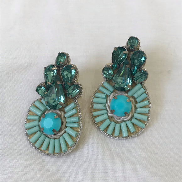 Turquoise gem and beaded earrings