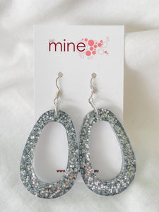 Silver sparkle large circle earring