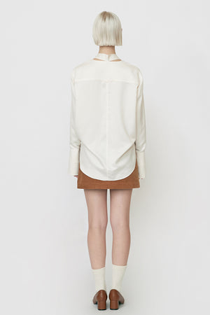 Satin Neck Tie Blouse in White