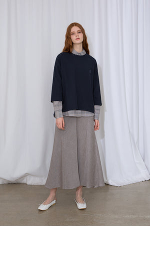 Gray Cotton Long Skirt