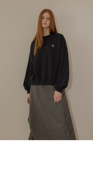 Gray Shirring Check Skirt