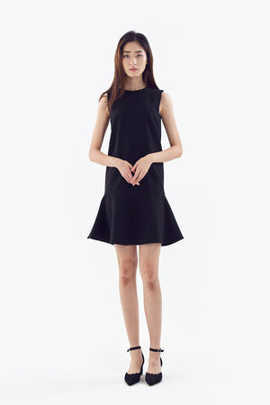flared ruffle sleeveless dress