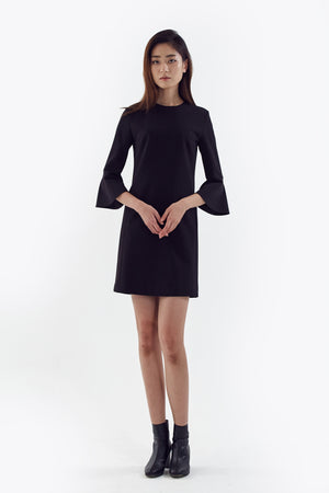 black flared sleeve dress