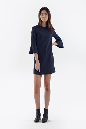 blue stretch bell sleeve dress