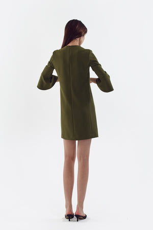 olive stretch bell sleeve dress