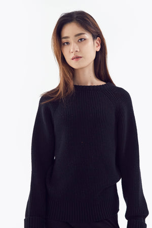 black chunky sweater