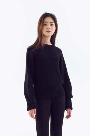 black oversized wool sweater