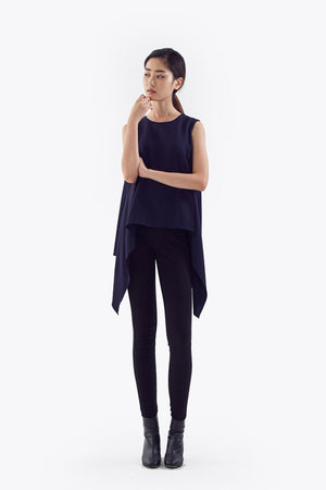 navy draped flare sleeveless top