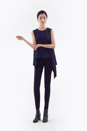 navy flared top