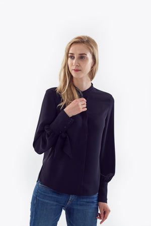 navy bishop tie sleeve blouse