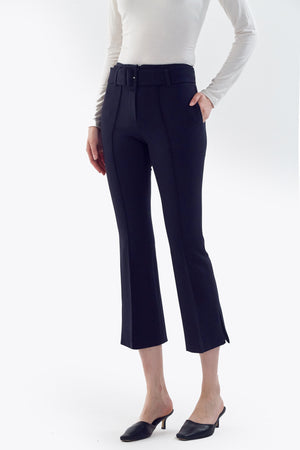 flared pants with buckle
