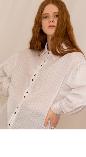 Ivory Puff Sleeve Stripe Blouse
