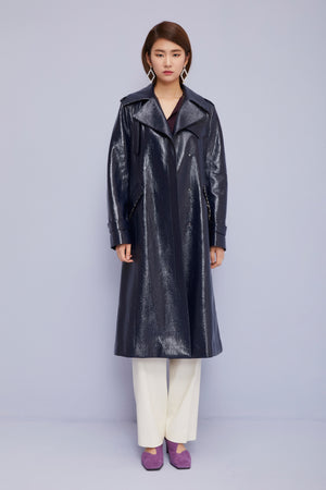 Laminated Check Pattern Trench Coat in Sleek Navy
