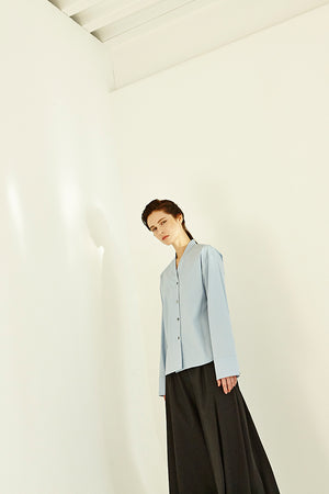 Sky Blue Drop Shoulder Long Sleeve V-Shirt