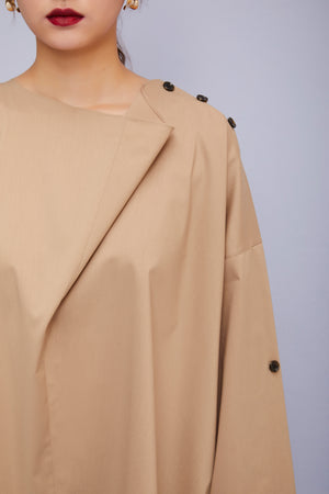Cowl Collar Oversized Top in Caffe Latte