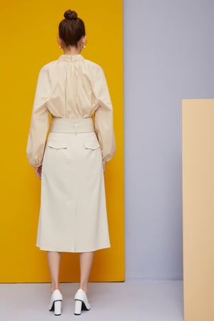 Front Open Pleats Skirt with Belt in Nude Beige