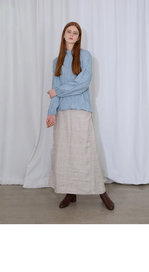 Ivory Shirring Check Linen Skirt
