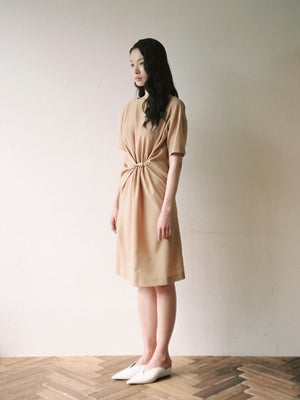 Front Twisted Dress in Caffe Latte