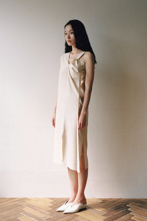 Wool Silk Dropped Strap Dress in Beige
