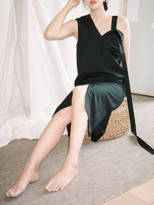 Wool Silk Dropped Strap Dress in Black