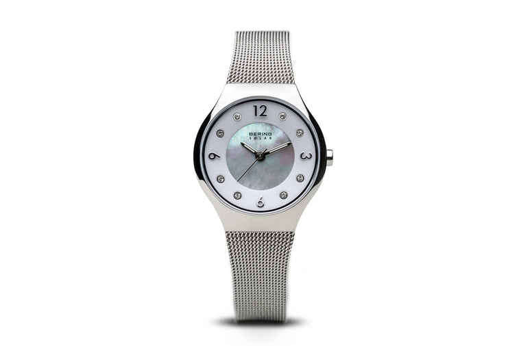 Solar- Polished Silver Watch - Bering