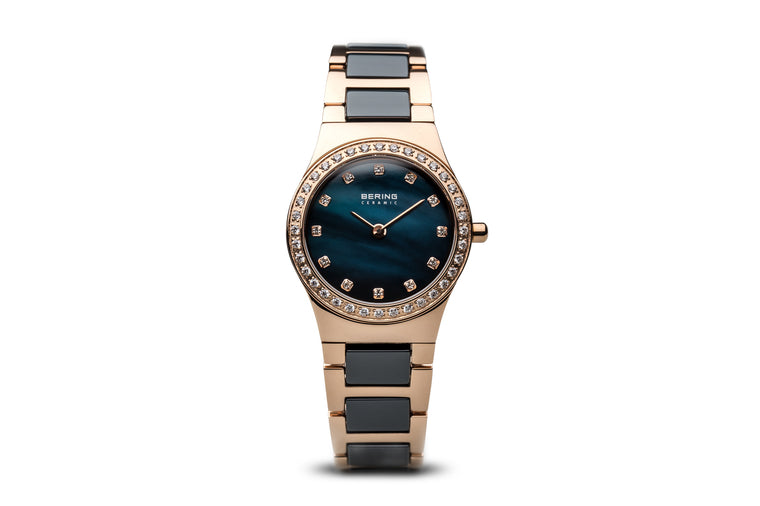 Ceramic Polished Rose Gold Watch - Bering
