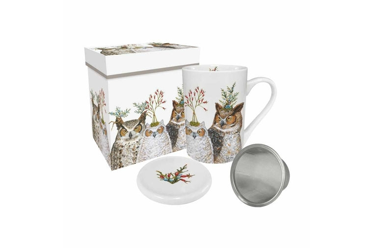 Vicki Sawyer - Holiday Hoot Gift Boxed Tea Mug with Lid and Strainer