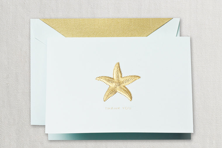 Hand Engraved Starfish Thank You Notes