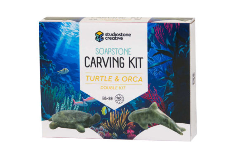 Turtle and Orca Soapstone Carving Kit
