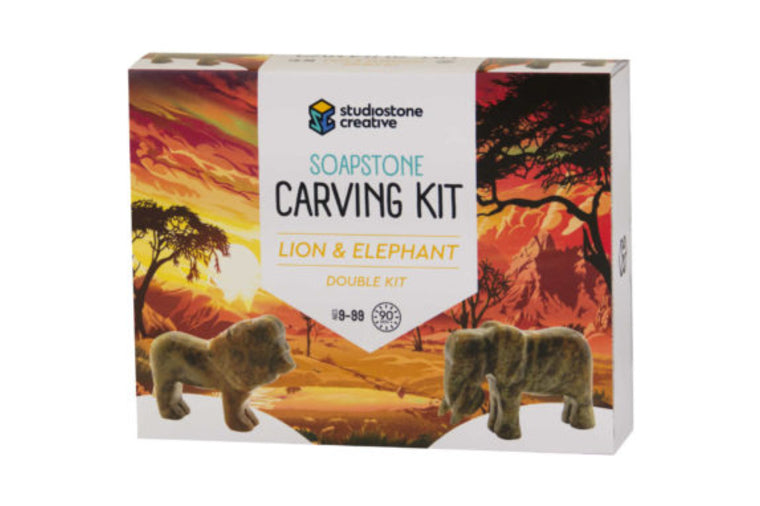 Elephant and Lion Soapstone Carving Kit