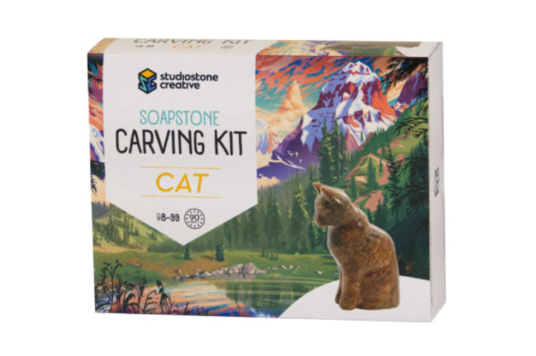 Cat Soapstone Carving Kit
