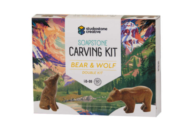 Bear and Wolf Soapstone Carving Kit