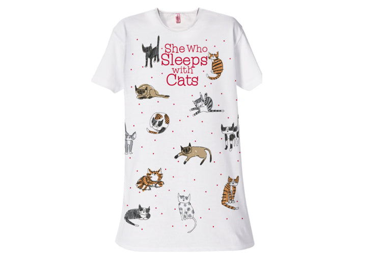 She Who Sleeps with Cats Sleepshirt