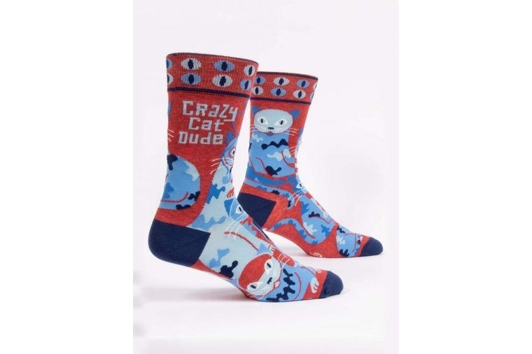 Crazy Cat Dude Men's Socks - Blue Q