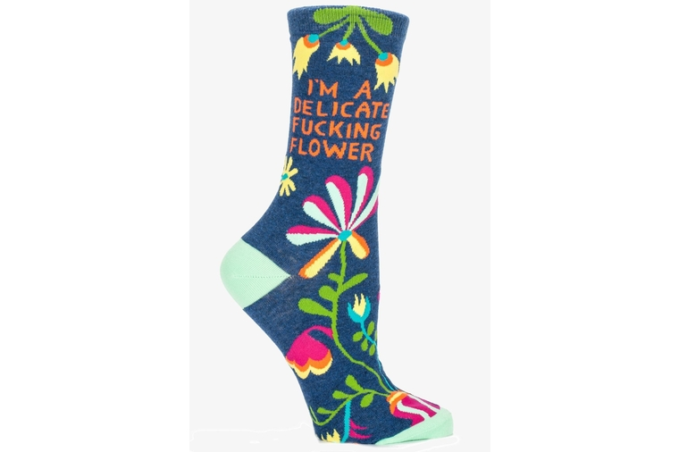Delicate Flower Socks - Blue Q