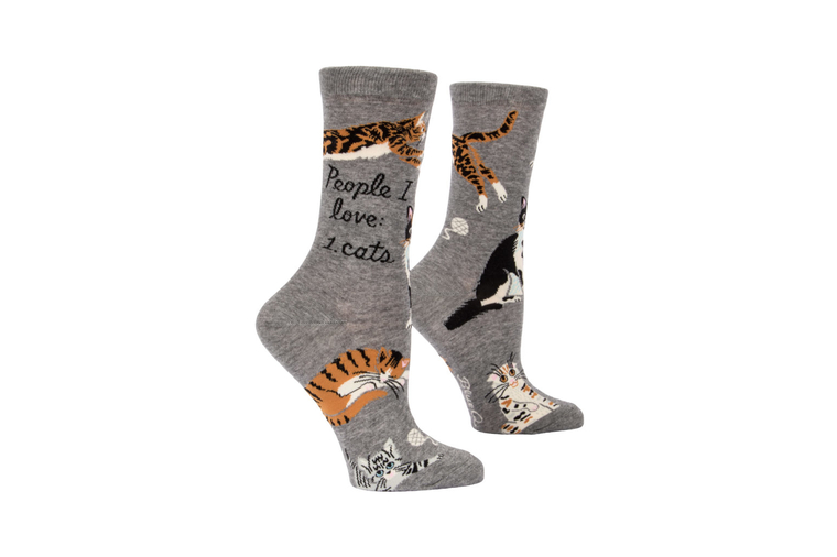 People I Love: Cats! Socks - Women - Blue Q
