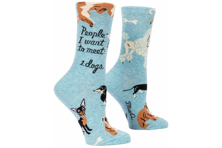 People to Meet: Dogs Socks - Women - Blue Q