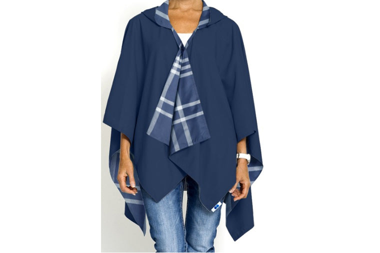 Navy Plaid Hooded Rainrap