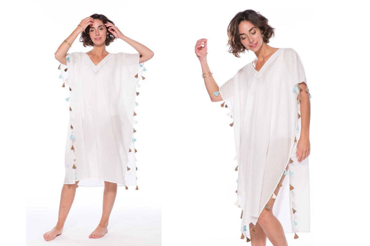 White Long Tassel Beach Kaftan