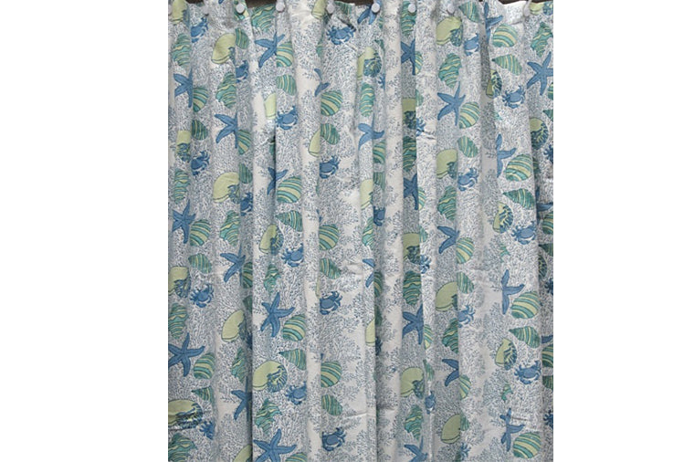 Coral Green Shower Curtain