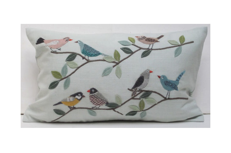 Flock of Birds Aqua Pillow