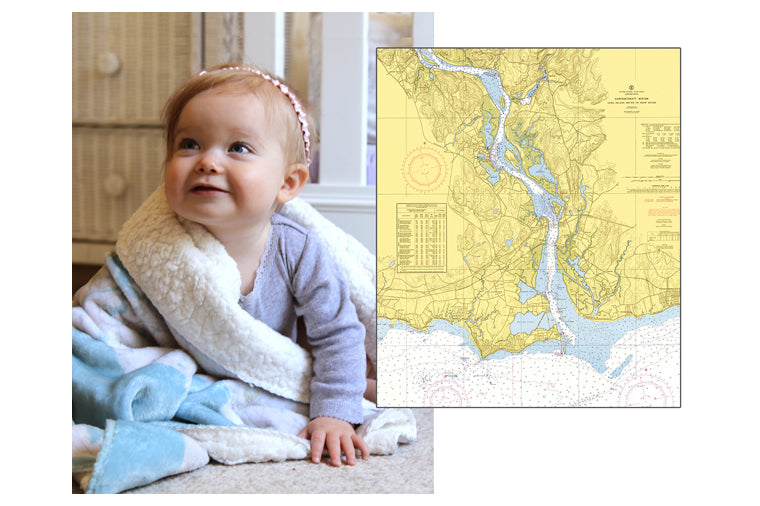 Connecticut River Chart Baby Blanket
