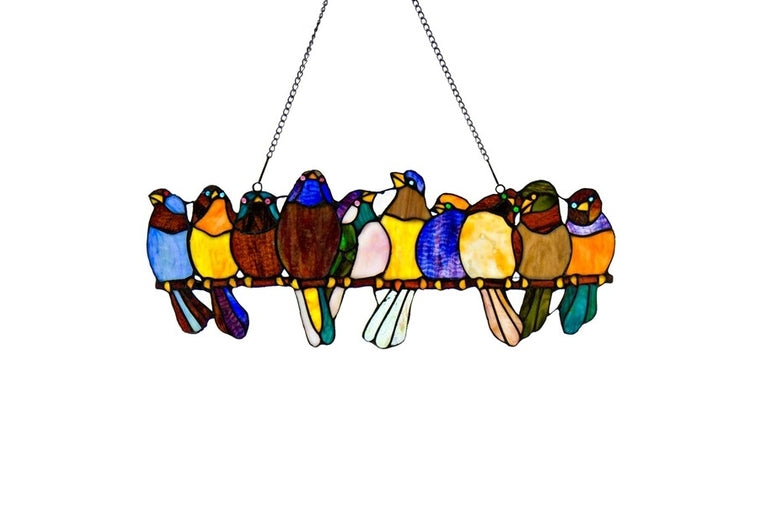 "River of Goods - 9.5""H Stained Glass Birds on Wire Window Panel"