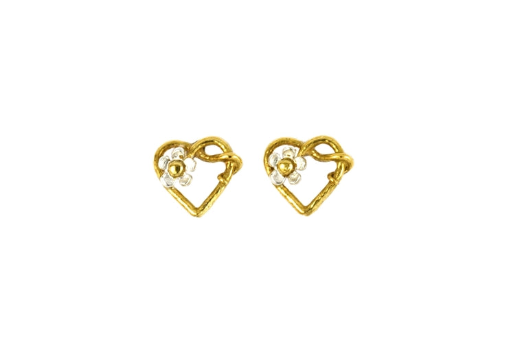 Alex Monroe - Posy Heart Stud Earrings - Gold and Silver Plated