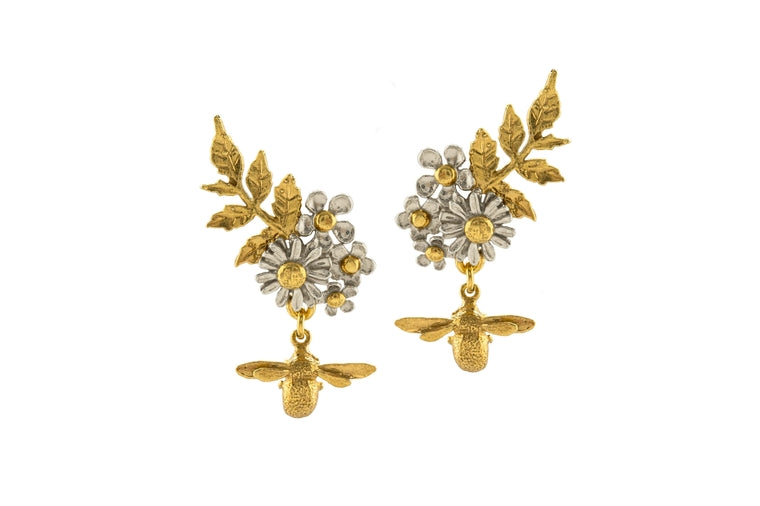 Alex Monroe - Spring Posy Cluster Earrings - Gold and Silver Plated