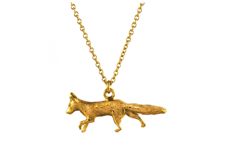 Prowling Fox Gold Plated Necklace