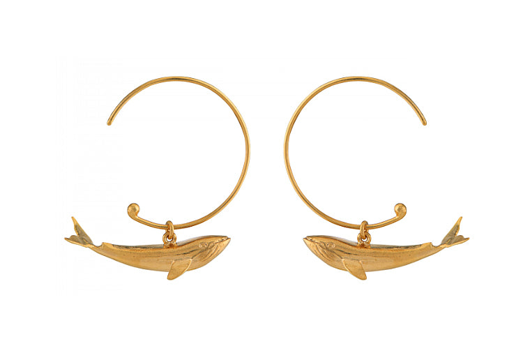 Baby Blue Whale Hoop Earrings - Gold - Alex Monroe