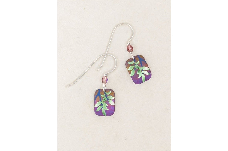 Holly Yashi - Evergreen Leaf Earrings - Purple and Green