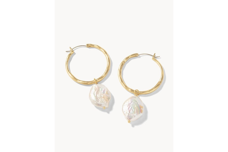 Spartina: Pearl Drop Hoop Earrings